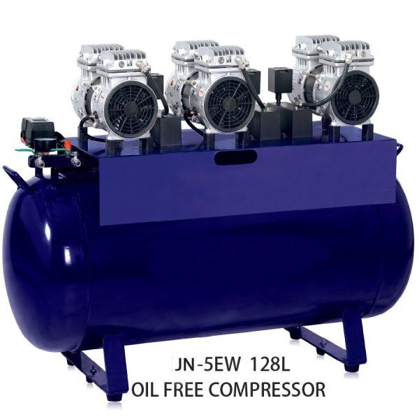 Dental 5EW 128L 1635W oil free silent quite air compressor white color dark blue color air compressor for dental chair